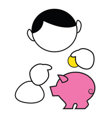 Funny cartoon boy saving money in piggybank