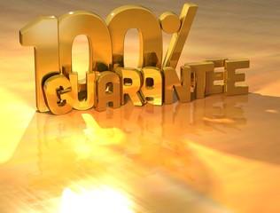 3D 100 Percent Guarantee Gold Text