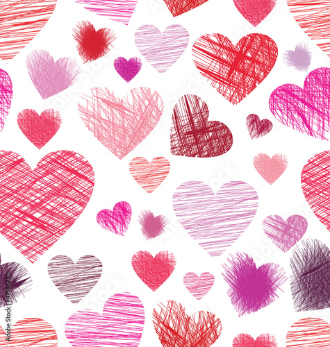 Seamless background with sketchy hearts