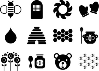 icons related to bees and honey