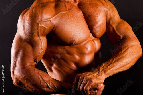 muscular man top body studio shot