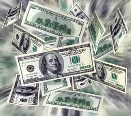 Money flying dollars