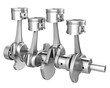 Engine pistons on a crankshaft