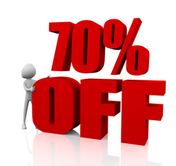 Sale promotion text 70 percent off