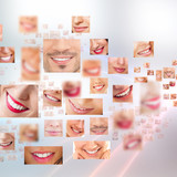 Fototapety Faces of smiling people in set. Healthy teeth. Smile