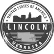Stamp with name of Nebraska, Lincoln, vector illustration