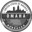 Stamp with name of Nebraska, Omaha, vector illustration