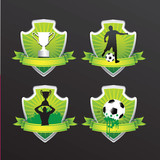 soccer winners shields vector background