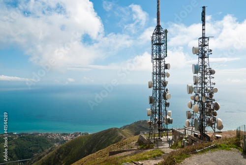 canvas print picture telecommunications towers landscape
