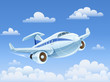 passenger airplane flying in sky vector illustration EPS10.