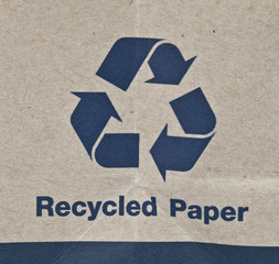 Paper recycled sign
