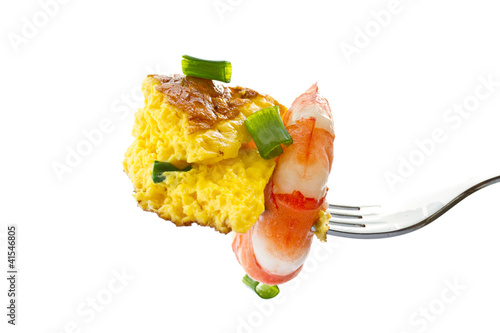 omelet with cooked shrimp