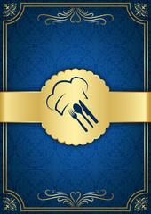 Mavi altın şeritli restorant kapağı