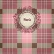 Vintage Paris background, album cover with floral label