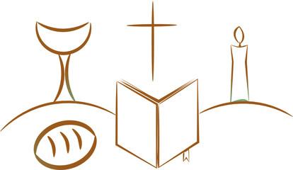 communion depicting traditional Christian symbols