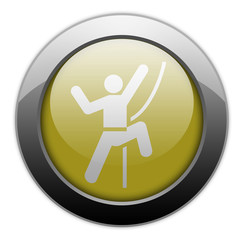 "Yellow Metallic Orb Button ""Rock Climbing"""