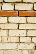 Background of white brick wall  horizontal red row