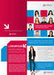 Blue and red template for advertising with business people