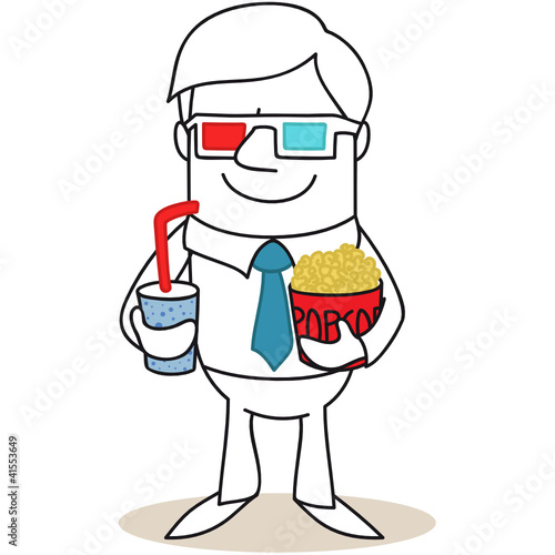 Geschäftsmann, 3D-Brille, Popcorn