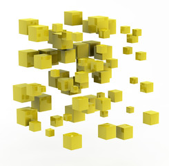 3d abstract shape made from golden cubes
