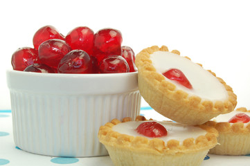 Close up Cherry Bakewells with glaced cherries