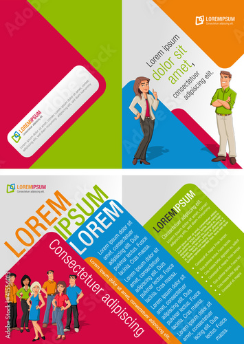Colorful template for advertising brochure with cartoon people