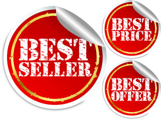 Best seller, best price and best offer stickers