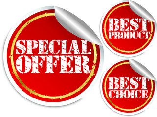 Special offer, best product and best choice stickers