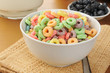 Bowl of fruit flavored cold cereal