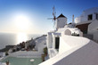 Santorini with old Windmill in Oia village, Greece