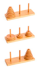 The tower of hanoi isolated on white