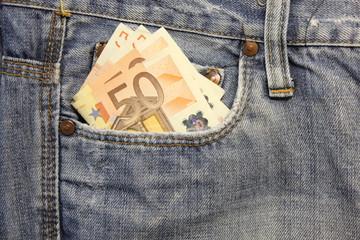 Jeans e tasca  destra con euro