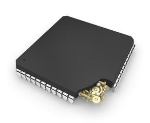 Microchip with mechanical gears inside