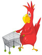 Funny Parrot. Shopping.