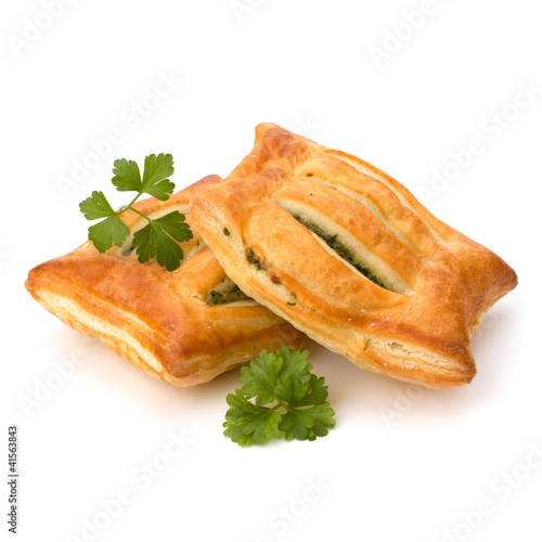 Puff pastry. Healthy pasty with spinach.