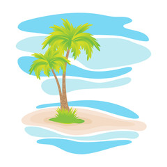 Vector summer background, tropical palm trees on the island