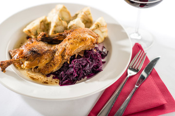 Roasted duck with cabbage and dumpling