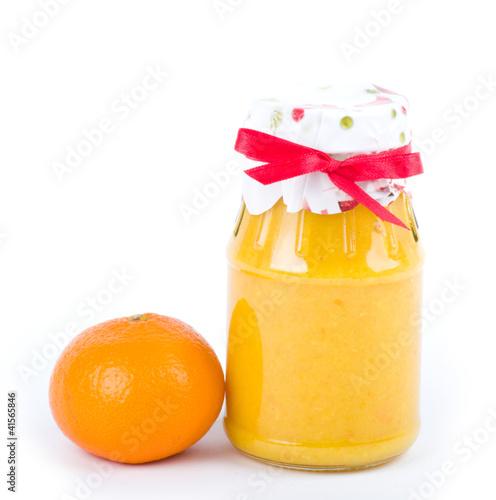 Tangerine and Orange jam on white background