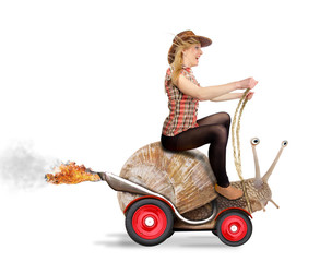 Attractive blond woman driving on snail. Concept of speed