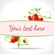 floral banner with strawberries