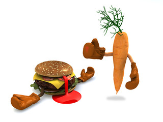 burgers and carrot that fight