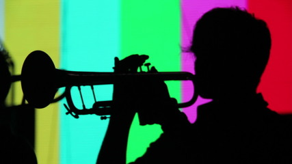 Silhouette of a trumpet player