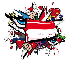 Flag Indonesia graffiti Jakarta pop art illustration