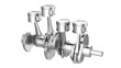 Engine pistons on a crankshaft, isolated, with clipping path