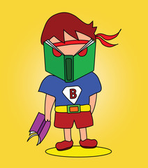"Vector - Book man.He is hero name ""Book man""."
