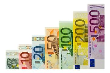 Geldscheine als Treppe (aufsteigend)