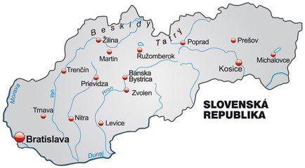 Map of Slovakia with capitals