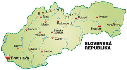 Map of Slovakia in green