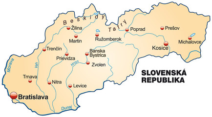Map of Slovakia as an overview