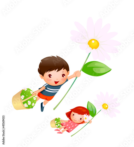 Boy and Girl flying with flowers